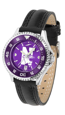 Ladies Northwestern Wildcats - Competitor AnoChrome Watch - Color Bezel