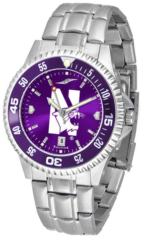 Mens Northwestern Wildcats - Competitor Steel AnoChrome Watch - Color Bezel
