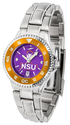 Ladies Northwestern State Demons - Competitor Steel AnoChrome Watch - Color Bezel
