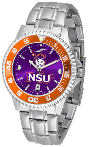 Mens Northwestern State Demons - Competitor Steel AnoChrome Watch - Color Bezel