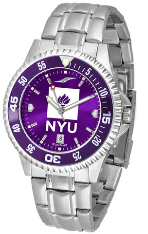 Mens New York University Violets - Competitor Steel AnoChrome Watch - Color Bezel
