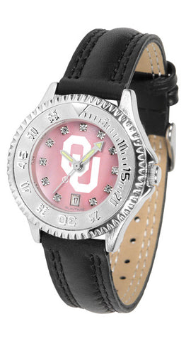 Oklahoma Sooners Ladies Competitor Watch With Mother Of Pearl Dial