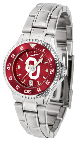 Oklahoma Sooners Ladies Competitor Steel Watch With AnoChome Dial, Color Bezel