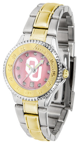 Oklahoma Sooners Ladies Competitor Two-Tone Watch With Mother Of Pearl Dial