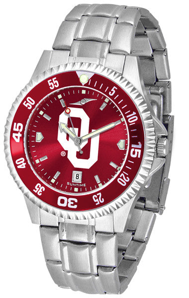 Oklahoma Sooners Men Competitor Steel Watch With AnoChome Dial, Color Bezel