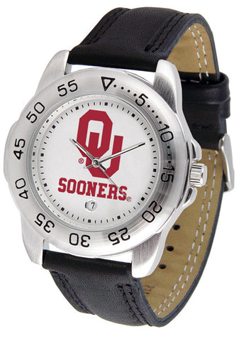 Oklahoma Sooners Men Sport Watch With Leather Band