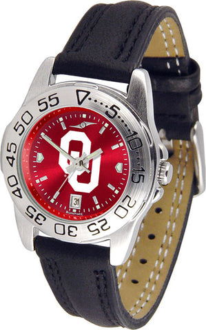 Oklahoma Sooners Ladies Sport Watch With Leather Band & AnoChrome Dial