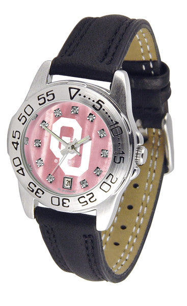 Oklahoma Sooners Ladies Sport Watch With Leather Band, Mother Of Pearl Dial