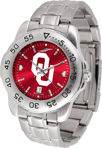 Oklahoma Sooners Men Sport Steel Watch With AnoChrome Dial