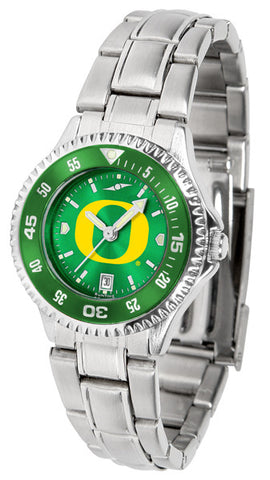 Oregon Ducks Ladies Competitor Steel Watch With AnoChome Dial, Color Bezel