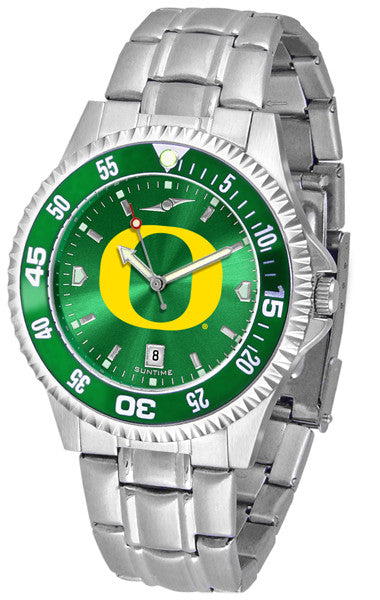 Oregon Ducks Men Competitor Steel Watch With AnoChome Dial, Color Bezel