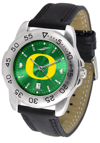 Oregon Ducks Men Sport Watch With Leather Band & AnoChrome Dial