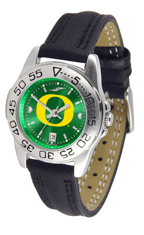 Oregon Ducks Ladies Sport Watch With Leather Band & AnoChrome Dial