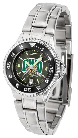 Ladies Ohio University Bobcats - Competitor Steel AnoChrome Watch - Color Bezel