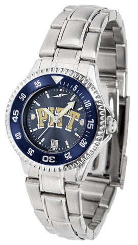 Pittsburgh Panthers Ladies Competitor Steel Watch With AnoChome Dial, Color Bezel