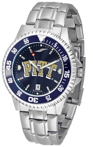 Pittsburgh Panthers Men Competitor Steel Watch With AnoChome Dial, Color Bezel