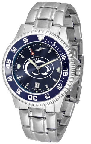 Penn State Nittany Lions Men Competitor Steel Watch With AnoChome Dial, Color Bezel