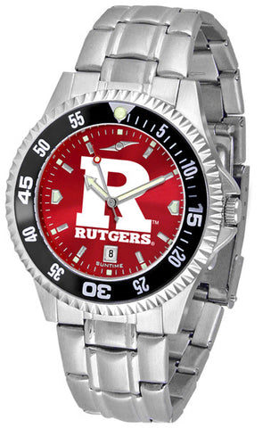 Mens Rutgers Scarlet Knights - Competitor Steel AnoChrome Watch - Color Bezel