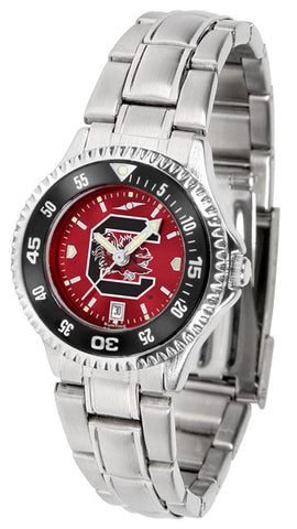 South Carolina Gamecocks Ladies Competitor Steel Watch With AnoChome Dial, Color Bezel