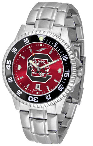 South Carolina Gamecocks Men Competitor Steel Watch With AnoChome Dial, Color Bezel