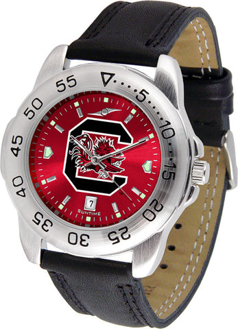 South Carolina Gamecocks Men Sport Watch With Leather Band & AnoChrome Dial