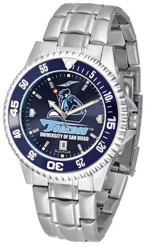 Mens San Diego Toreros - Competitor Steel AnoChrome Watch - Color Bezel