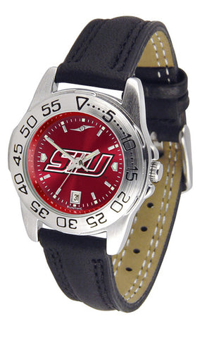 Southern Illinois University Ladies Sport Watch With Leather Band & AnoChrome Dial