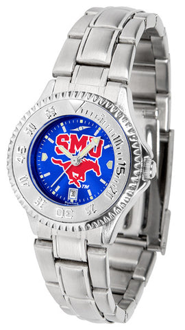 Ladies Southern Methodist University Mustangs - Competitor Steel AnoChrome Watch