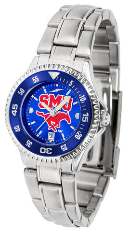 Ladies Southern Methodist University Mustangs - Competitor Steel AnoChrome Watch - Color Bezel