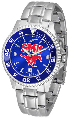 Mens Southern Methodist University Mustangs - Competitor Steel AnoChrome Watch - Color Bezel