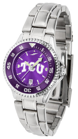 Texas Christian Horned Frogs Ladies Competitor Steel Watch With AnoChome Dial, Color Bezel