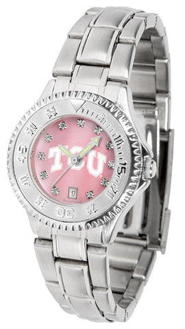 Texas Christian Horned Frogs Ladies Competitor Steel Watch With Mother Of Pearl Dial