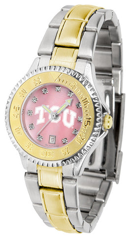 Texas Christian Horned Frogs Ladies Competitor Two-Tone Watch With Mother Of Pearl Dial