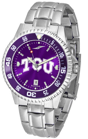 Texas Christian Horned Frogs Men Competitor Steel Watch With AnoChome Dial, Color Bezel