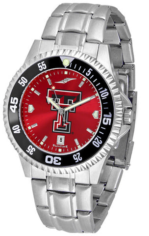 Texas Tech Red Raiders Men Competitor Steel Watch With AnoChome Dial, Color Bezel