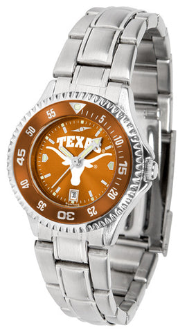 Texas Longhorns Ladies Competitor Steel Watch With AnoChome Dial, Color Bezel