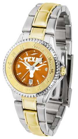Texas Longhorns Ladies Competitor Two-Tone Watch With Anochrome Dial