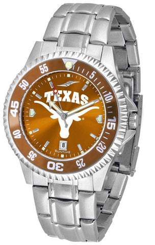Texas Longhorns Men Competitor Steel Watch With AnoChome Dial, Color Bezel