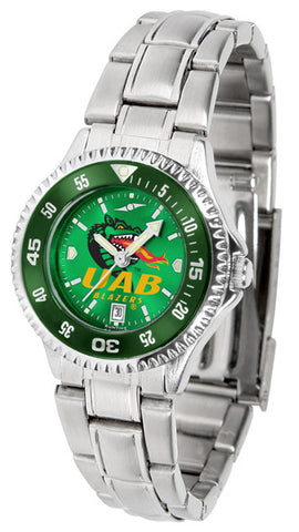 Alabama - UAB Blazers Ladies Competitor Steel Watch With AnoChome Dial, Color Bezel