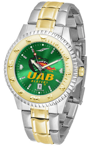 Alabama - UAB Blazers Mens Competitor Two-Tone Watch With Anochrome Dial