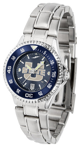 Ladies Utah State University Aggies - Competitor Steel AnoChrome Watch - Color Bezel