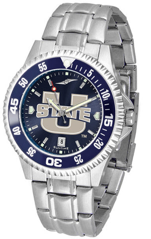 Mens Utah State University Aggies - Competitor Steel AnoChrome Watch - Color Bezel