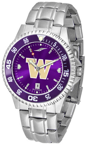 Mens Washington Huskies - Competitor Steel AnoChrome Watch - Color Bezel