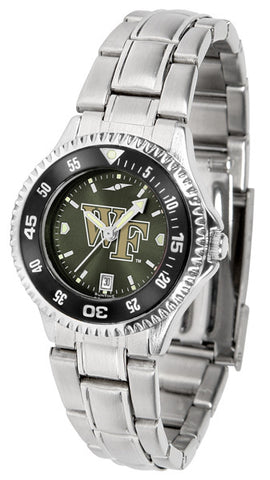 Ladies Wake Forest Demon Deacons - Competitor Steel AnoChrome Watch - Color Bezel