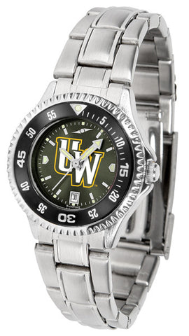 Ladies Wyoming Cowboys - Competitor Steel AnoChrome Watch - Color Bezel