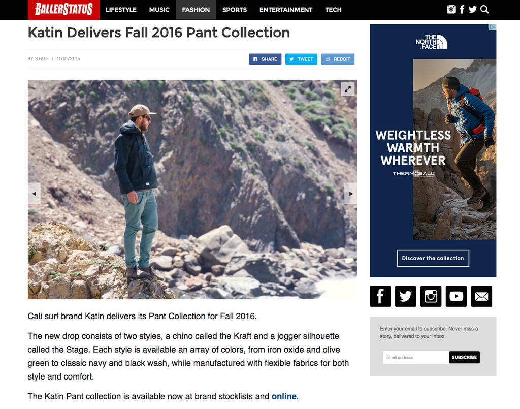 PRESS: BallerStatus.com Features Katin Pant Collection