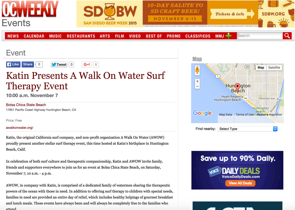 PRESS: OC Weekly 'Katin Presents A Walk On Water Surf Therapy Event'