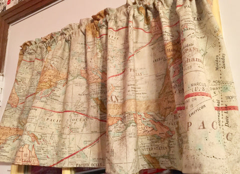 "Navy Map Nautical Valance Window Curtain Topper cotton fabric 43/""W x 15/""L"