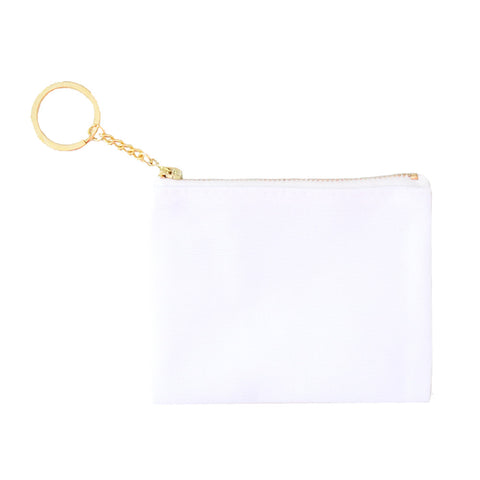 Blank Zip Card Key Fob - White/White 12pk
