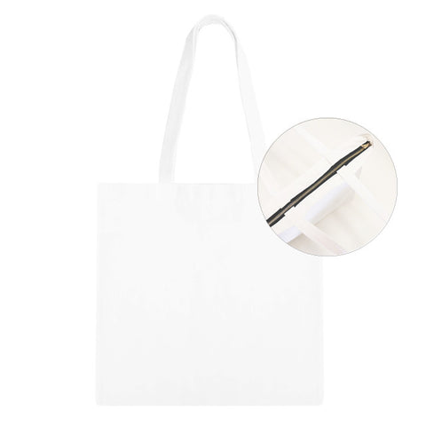 Blank Zip Tote Bag - White/Black 12pk